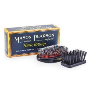 メイソンピアソン Mason Pearson ヘアブラシ 猪毛&ナイロン - ミディアム ジュニア ミリタリー ミックス #ダークルビー 1本