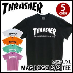 スラッシャー Tシャツ THRASHER ロゴ マグロゴ メンズ 半袖 白 黒|bellezza