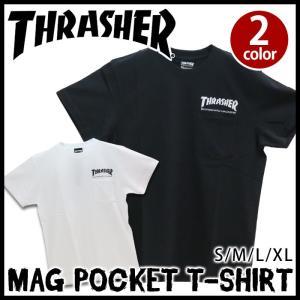 Tシャツ ポケット スラッシャー THRASHER マグロゴ メンズ 半袖 バックプリント|bellezza