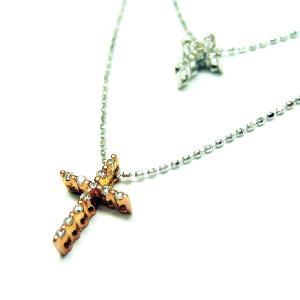 K18ホワイトゴールド.ピンクゴールドダイヤモンドツインクロス2ラインペンダントネックレス|bellhouse-suzuya