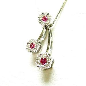 k18wg ピンクサファイヤ ダイヤモンド 3フラワーペンダントネックレス|bellhouse-suzuya