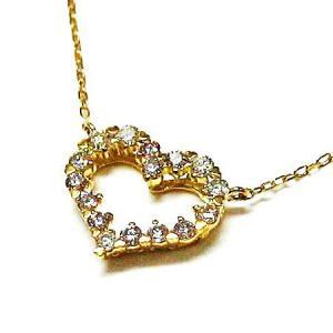 k18ゴールド ダイヤモンドオープンハートペンダントネックレス|bellhouse-suzuya