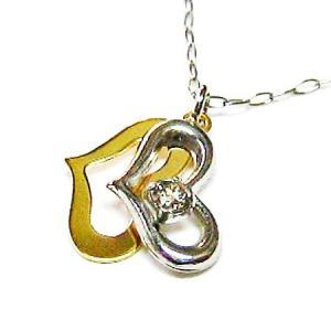 プラチナ900 k18ピンクゴールド ダイヤモンド 2カラーオープンハートペンダントネックレス|bellhouse-suzuya