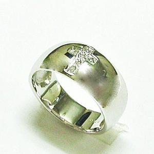 k18ホワイトゴールド ダイヤモンドクロス ピンキーリング|bellhouse-suzuya