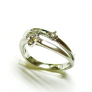 k18ホワイトゴールド ダイヤモンドフラワー ピンキーリング|bellhouse-suzuya