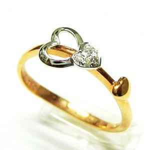 k18ピンクゴールド ホワイトゴールド ダイヤモンドスリーハートリング|bellhouse-suzuya