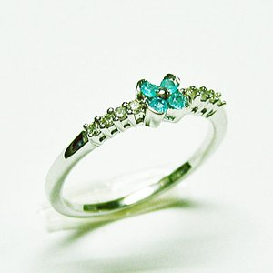 K18ホワイトゴールド パライバトルマリン ダイヤモンドフラワーリング|bellhouse-suzuya|02