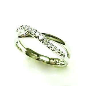 プラチナ900 ダイヤモンド クロス2ライン ピンキーリング|bellhouse-suzuya