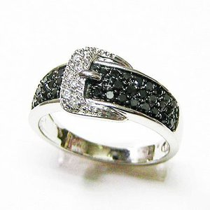 k18ホワイトゴールド ブラックダイヤ ダイヤモンド バックルリング 0.50ct|bellhouse-suzuya