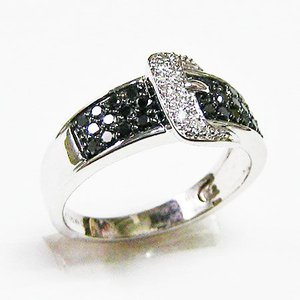 k18ホワイトゴールド ブラックダイヤ ダイヤモンド バックルリング 0.50ct|bellhouse-suzuya|02