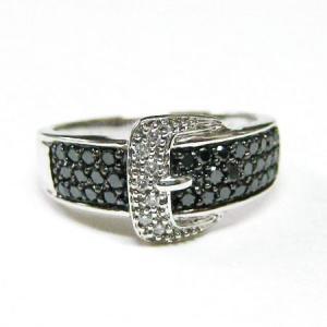 k18ホワイトゴールド ブラックダイヤ ダイヤモンド バックルリング 0.50ct|bellhouse-suzuya|03