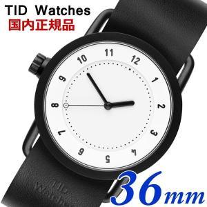 TID Watches ティッドウォッチズ No.1 ホワイト文字盤 ブラックレザー 36mm 男女兼用 ユニセックス メンズ レディース 10200101|bellmart