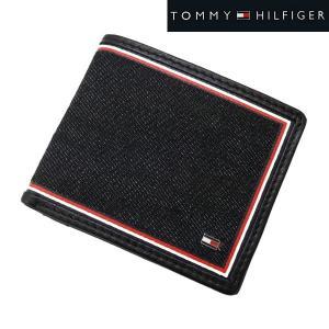 TOMMY HILFIGER トミー ヒルフィガー  二つ折り財布 小銭入れ付 デニム(ブラック)/牛革 ショートウォレット 31TL130075-001|bellmart