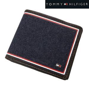 TOMMY HILFIGER トミー ヒルフィガー  二つ折り財布 小銭入れ付 デニム(ネイビー)/牛革 ショートウォレット 31TL130075-200|bellmart