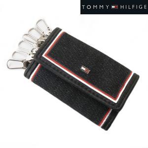 TOMMY HILFIGER トミー ヒルフィガー 6連キーケース デニム(ブラック)/牛革 31TL170004-001|bellmart