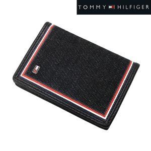 TOMMY HILFIGER トミー ヒルフィガー  カードケース 名刺入れ デニム(ブラック)/牛革 31TL200021-001|bellmart