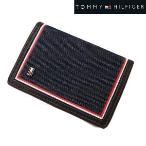 TOMMY HILFIGER トミー ヒルフィガー  カードケース 名刺入れ デニム(ネイビー)/牛革 31TL200021-200|bellmart