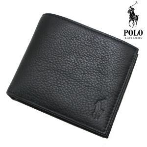 ポロ ラルフローレン POLO RALPH LAUREN 二つ折り財布 牛革 ブラック/黒 ショートウォレット メンズ 405526129-002 bellmart