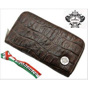 オロビアンコ (OROBIANCO・INTRA LAP)ラウンドファスナー長財布(クロコ調型押し牛革・ダークブラウン/つや無し) 7025578|bellmart