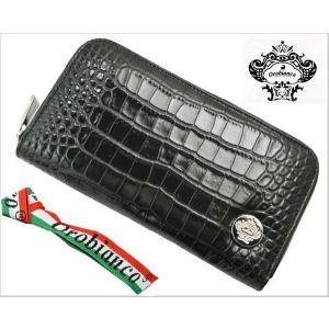 オロビアンコ (OROBIANCO・INTRA LAP)ラウンドファスナー長財布(クロコ調型押し牛革・ブラック/つや有り)7025715|bellmart
