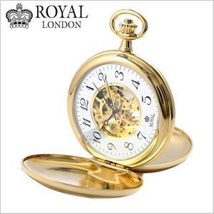 ロイヤルロンドン ROYAL LONDON  懐中時計 ポケットウォッチ/機械式(手巻き)蓋付き・両面スケルトン・メンズ・ゴールド(チェーン付) 90004-01|bellmart