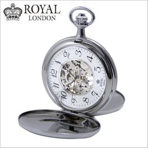 ロイヤルロンドン ROYAL LONDON  懐中時計 ポケットウォッチ/機械式(手巻き)蓋付き・両面スケルトン・メンズ・シルバー(チェーン付) 90004-02|bellmart
