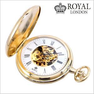 ロイヤルロンドン ROYAL LONDON  懐中時計 ポケットウォッチ/機械式(手巻き)蓋付き・両面スケルトン・メンズ・ゴールド(チェーン付) 90005-02|bellmart