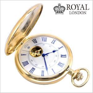 ロイヤルロンドン ROYAL LONDON  懐中時計 ポケットウォッチ/機械式(手巻き)蓋付き・両面スケルトン・メンズ・ゴールド(チェーン付) 90051-02|bellmart