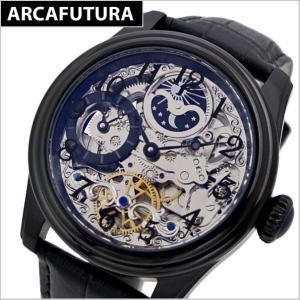 アルカフトゥーラ  ARCA FUTURA 腕時計 機械式自動巻き メンズ ブラックIP ・牛革ベルト(ブラック) 965EBK|bellmart