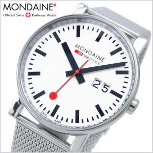 モンディーン MONDAINE 腕時計 EVO エヴォ ビッグデイト メンズ/ホワイト・メッシュベルト A627.30303.11SBM|bellmart