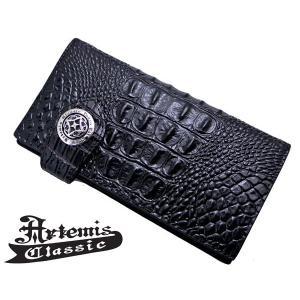 アルテミスクラシック Artemis Classic アンティークロングウォレット 長財布 クロコスタイルミッドナイトパープル ACW0002|bellmart