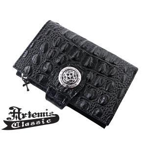 アルテミスクラシック Artemis Classic アンティークミディアムウォレット長財布 クロコスタイルミッドナイトパープル ACW0003|bellmart