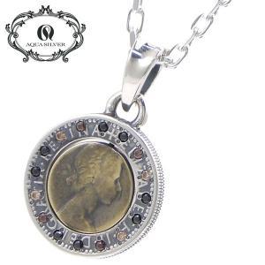 アクアシルバー AQUA SILVER 6ペンスコイン ペンダント/ネックレス  シルバー925製 いぶし ASP-254BRF/Gold stones|bellmart