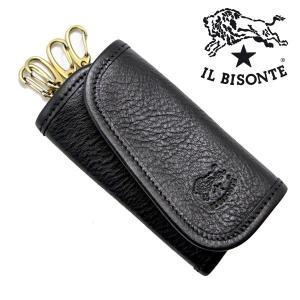 イルビゾンテ IL BISONTE キーケース 4連キーホルダー ブラック メンズ レディース C0251P-153|bellmart