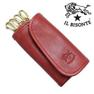 イルビゾンテ IL BISONTE キーケース 4連キーホルダー ROSSO レッド メンズ レディース C0251P-245|bellmart