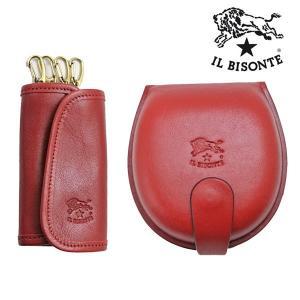 イルビゾンテ IL BISONTE コインケース& キーケースセットモデル レッド メンズ レディース C0543P-245 C0251P-245|bellmart