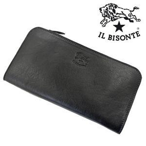 イルビゾンテ IL BISONTE ラウンドファスナー 長財布 ロングウォレット ブラック メンズ レディース C0909P-153|bellmart
