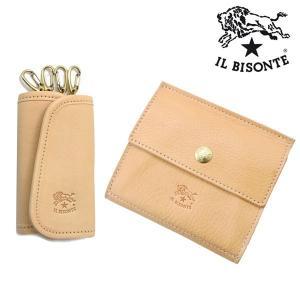 イルビゾンテ IL BISONTE 二つ折り財布 ショートウォレット キーケース セットモデル ヌメ/ナチュラル メンズ レディース C0910P-120 C0251P-120|bellmart