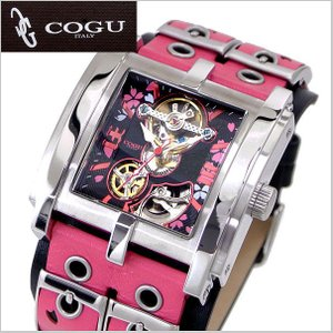 COGU(コグ)SAKURA(桜)機械式腕時計・自動巻き/革ベルト・ブラック x ピンク C63SKR-BPK|bellmart