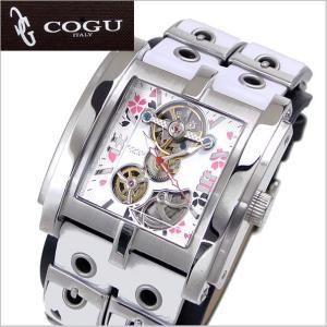 COGU(コグ)SAKURA(桜)機械式腕時計・自動巻き/革ベルト・ホワイト x ブラック C63SKR-WHB|bellmart