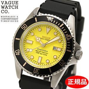 クリーナープレゼント VAGUE WATCH Co. ヴァーグ ウォッチ カンパニー 腕時計 ダイバーズサン 36mm ウレタンベルト イエロー文字盤  WATCHDIVER'S SON DS-L-002|bellmart