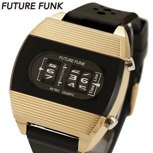 FUTURE FUNK フューチャー ファンク ローラー式腕時計 ラバーベルト ゴールド文字盤 FF104-YG-RB|bellmart