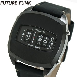 FUTURE FUNK フューチャー ファンク ローラー式腕時計 牛革ベルト ブラック文字盤 FF101-BK-LBK|bellmart
