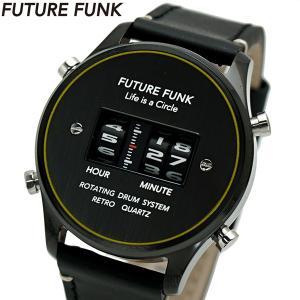 FUTURE FUNK フューチャー ファンク ローラー式腕時計 牛革ベルト ブラック文字盤 FF102-BKYL-LBK|bellmart