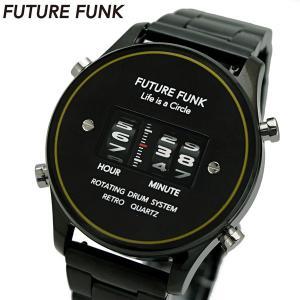 FUTURE FUNK フューチャー ファンク ローラー式腕時計 ステンレスベルト ブラック文字盤 FF102-BKYL-MT|bellmart