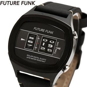 FUTURE FUNK フューチャー ファンク ローラー式腕時計 牛革ベルト ブラック文字盤 FF106-BKBK-LBK|bellmart