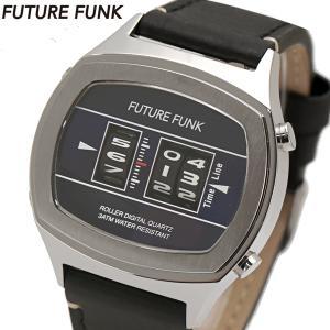 FUTURE FUNK フューチャー ファンク ローラー式腕時計 牛革ベルト ネイビー文字盤 FF106-SVNV-LBK|bellmart