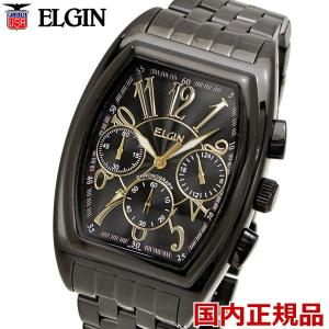 ELGIN エルジン 腕時計 トノー型 クロノグラフ メンズ ブラックIP FK1215B-B|bellmart