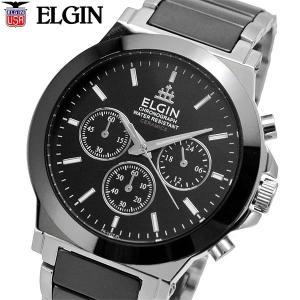 ELGIN エルジン 腕時計 セラミック クロノグラフ メンズ ブラック FK1417C-B|bellmart