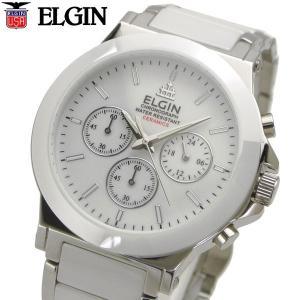 ELGIN エルジン 腕時計 セラミック クロノグラフ メンズ ホワイト FK1417C-W|bellmart
